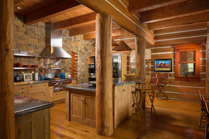 Montana log home kitchen