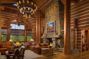 Montana log home great room with views